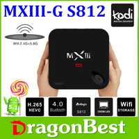 Newest Smart Android TV Box MX3 G Amlogic S812 Quad Core 4K 2.0GHz Gbit Ethernet H.265 Kodi 4K Android better than m8s tv box