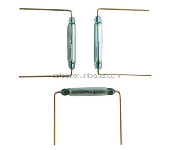 cut and bend leads pcb mounted Normally Open magnetic Gold Contact Green Glass Reed Switch