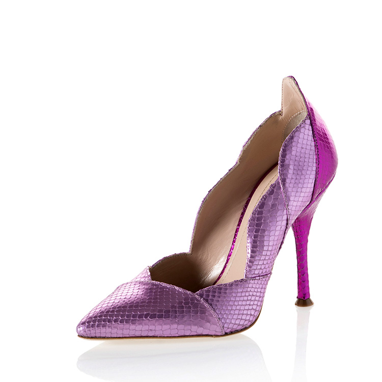 Fashion style snake leather pointed toe high heel cheap ladies pump shoes