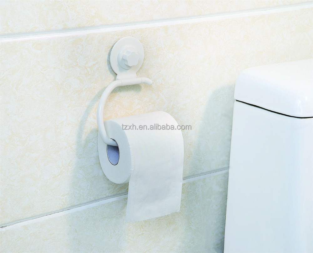 Bathroom wall mounted plastic paper roll holder with suction cup