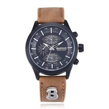 Buckle Beige Faux Leather Men Fashion & Casual Water Resistant Analog Quartz Watches