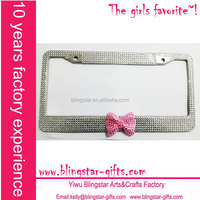 middle bow jeweled license plate frame