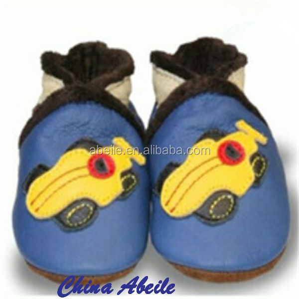 wholesale direct sales shoe factory blue color sports car pattern children or infant moccasins for leather