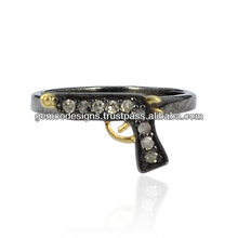 925 Sterling Silver Gun Shaped Designer Mid Ring, Genuine Pave Set Diamond Studded Wholesale Handmade Rings Jewelry