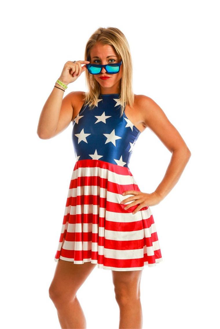 Bandeira americana de Moda Digital Plissada Impresso Mulheres Vestido