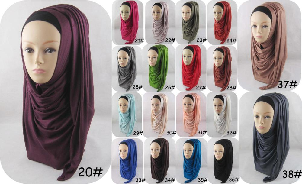 2017 Newest Luxury Solid Color Plain Jersey Hijab for Muslim