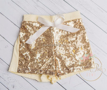 KL-ST-010 hot sale baby gold sequin shorts wholesale gold sequin shorts for children