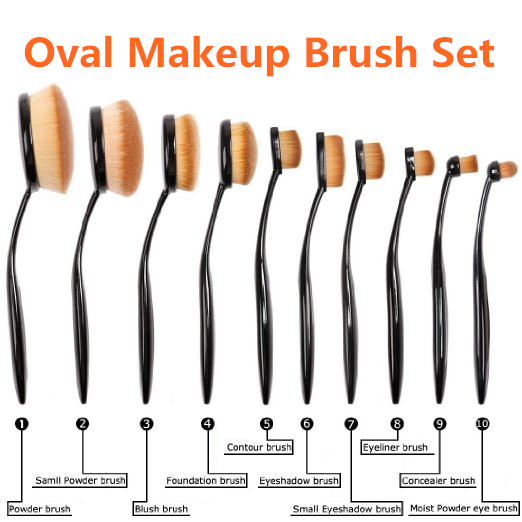 Low MOQ 10pcs Premium Synthetic Kabuki Makeup Brush Set, Oval Foundation Makeup Brushes