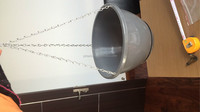 gray garden hanging round plastic seed planter