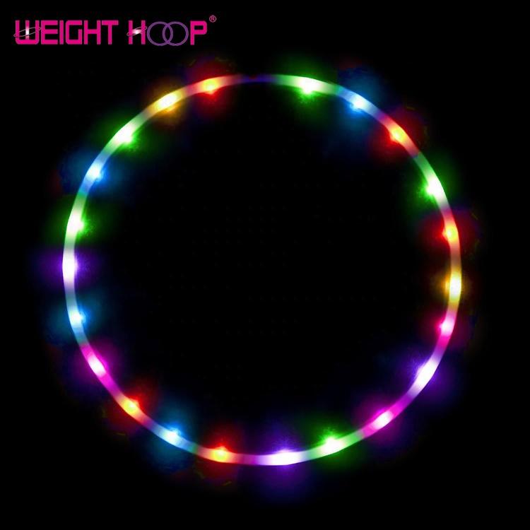 24LEDs Flashing Hula Circle Glow Light Up Fitness Weight Loss Colorful 90cm Hoop