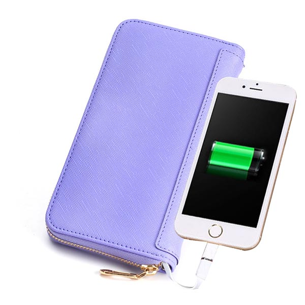 pu best women long zip around Leather power bank charger Wallets women pu purse with 6000mh