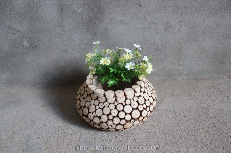 Pure natural harmless environmental protection wood flower pot customized mind body and soul