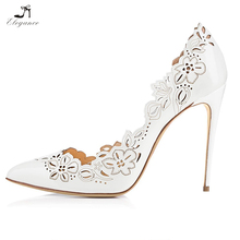 2017 Latest Design Fancy White Flower Cutout Wedding Shoes Women Spring Summer High Heel Pumps Bridal Party Prom Shoes