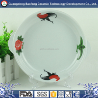 Restaurant banquet round shape white ceramic dinner plates with handles