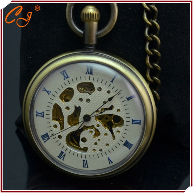 European And American fashion Tide Restoring Ancient Ways Is Hollow Out Mechanical Pocket Watch