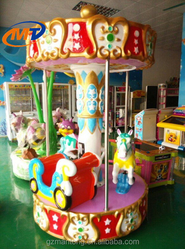 Hot sale amusement park Pony Pony fairground whirligig merry go round good used small 3 seats mini carousel for sale