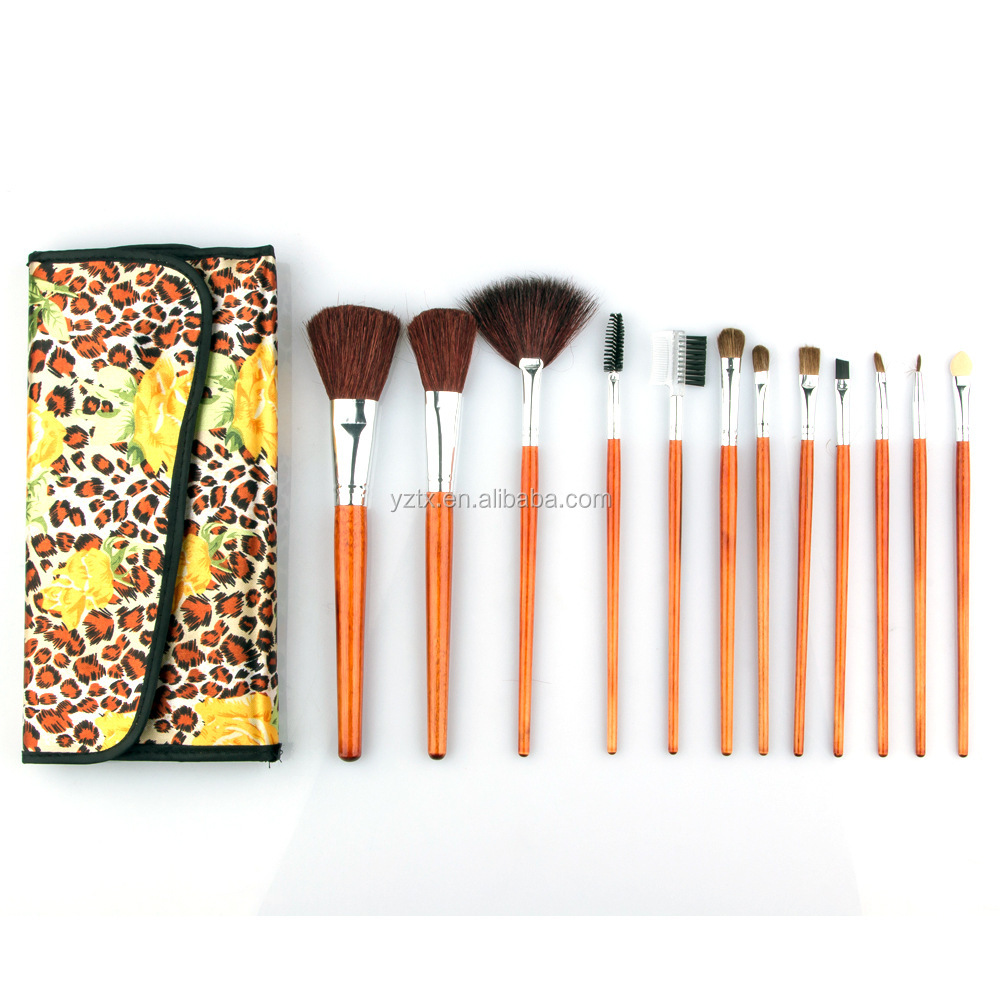 Bag type 12pcs horse hair makeup brush personalized logo brushes set for cosmetic beauty