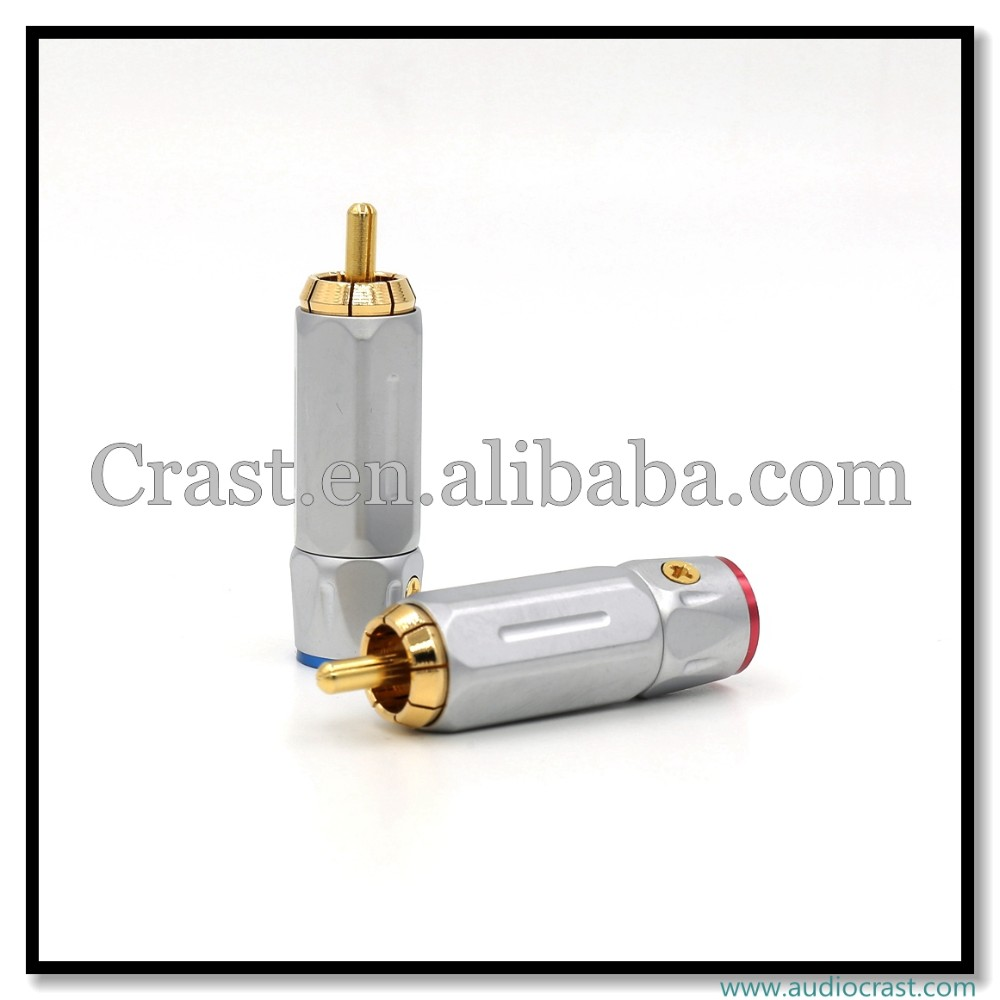 Professional Made Audio Connectors Audio RCA Male Connector Gold Plated Plug
