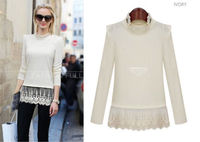 New Fashion Autumn European Women's 2014 Hem Stitching Lace Shirt Slim Fit Knitted Blouse