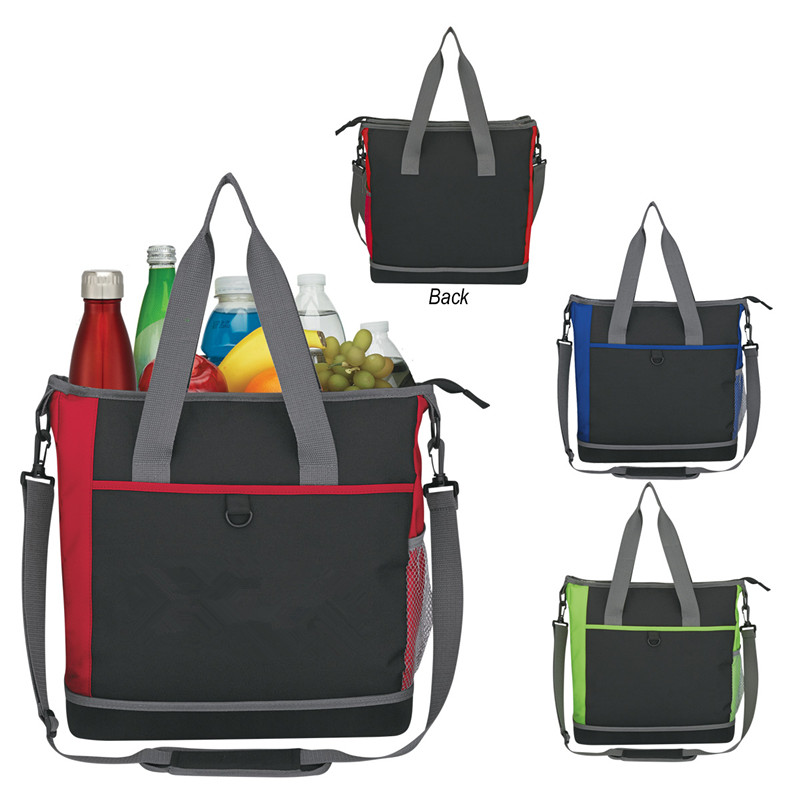 Three Colors Option 600D Polyester With Hard Flat Bottom Shopping Cooler Tote Bag