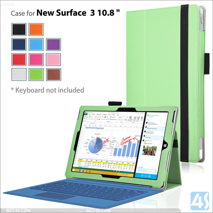 Newest for microsoft surface 3 case, pu leather wallet case for surface 3 tablet cover