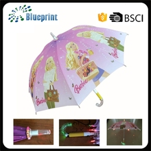 carton print children led umbrella with light on handle and ribs