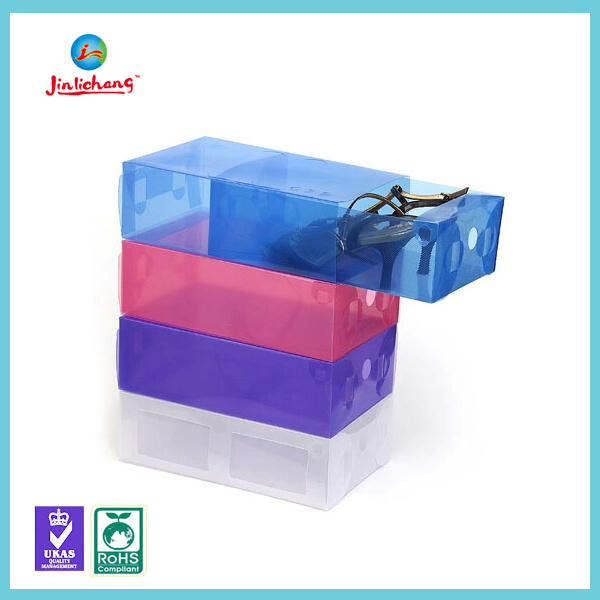 2016 frosted clear plastic shoe storage box with handle