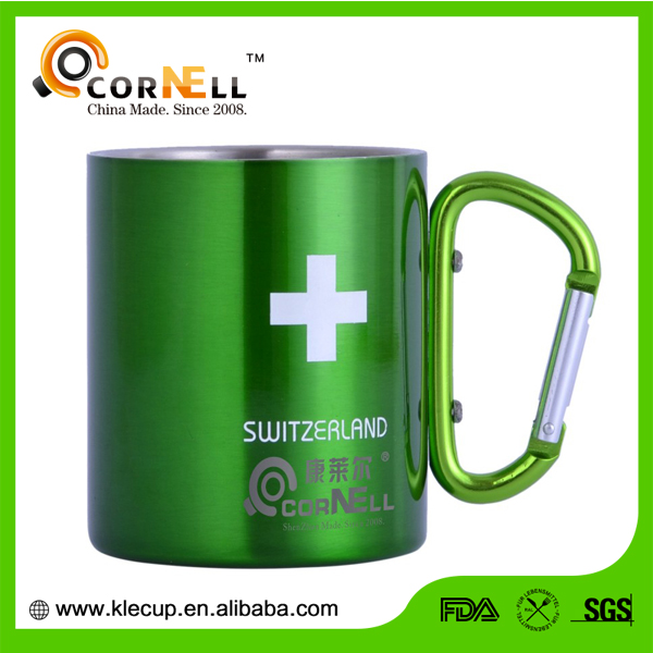 promotional cross green double wall stainless steel travel coffee mug with cabinet