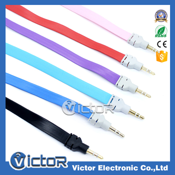 1m length colorful noodles design aux audio cable for all devices