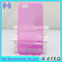 Mix color factory price S-line TPU Wave Curve Gel Cover Case for iPhone 6