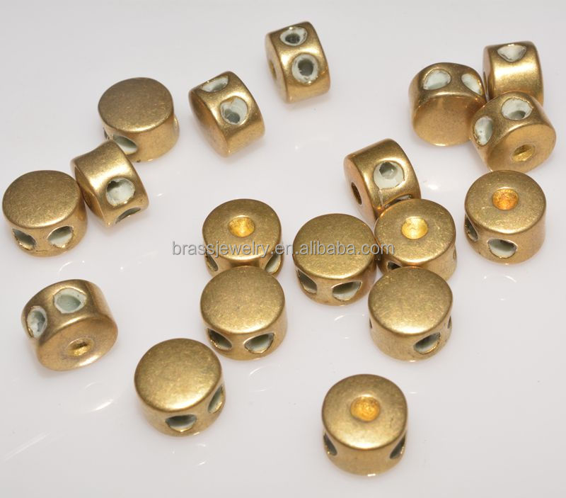 Cheap Wholesale Raw Brass Two Hole Design 8*5.8mm Unique Copper Stopper Beads