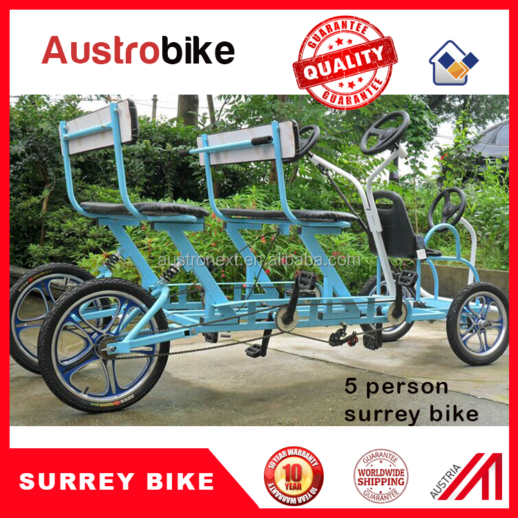 4 person surrey bike with roof and LED lighting 4 wheel tandem bike