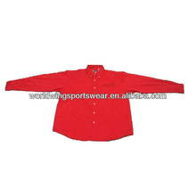 Men's red long sleeves cotton hot sale shirt