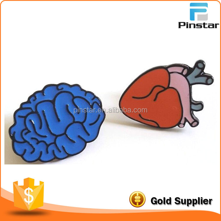 China Pinstar Cute Enamel Pin HEART and BRAIN Set Lapel Pin Custom