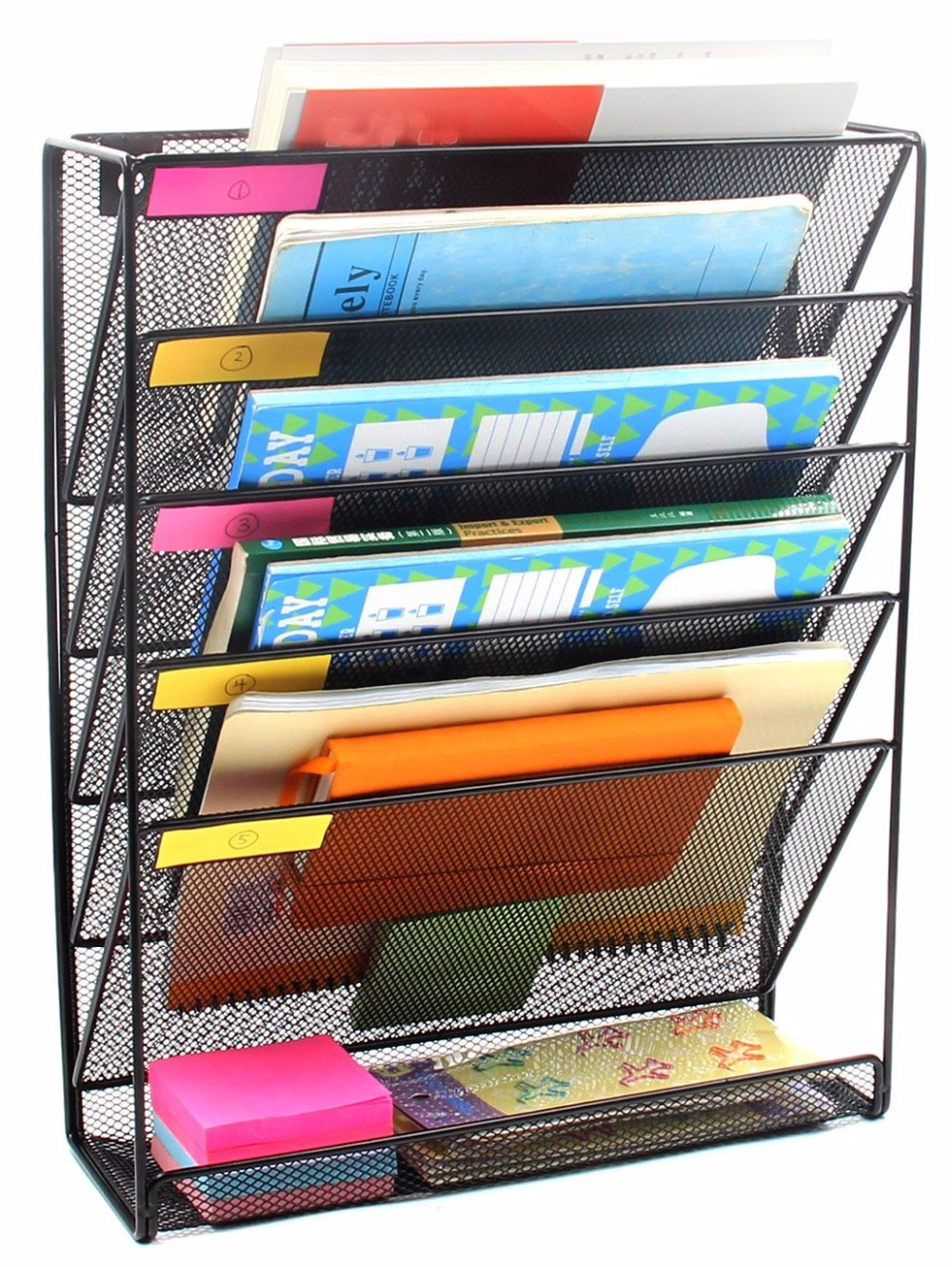 High quality customized decorative office desktop metal mesh magazine organizer wall file holder