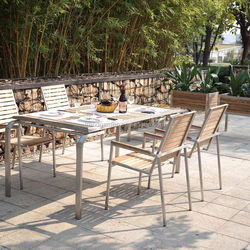 Teak dining table and chair furniture used outdoor restaurant