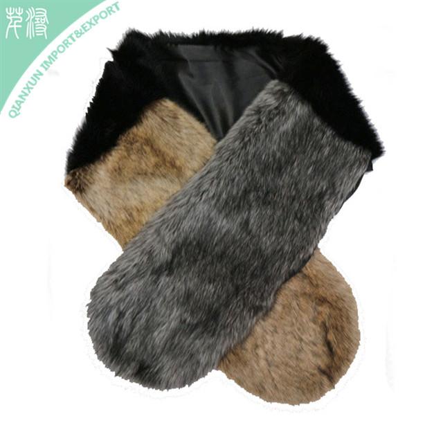 SC-129300 Women winter neck warm faux fur collar scarf stole long scarf shawl