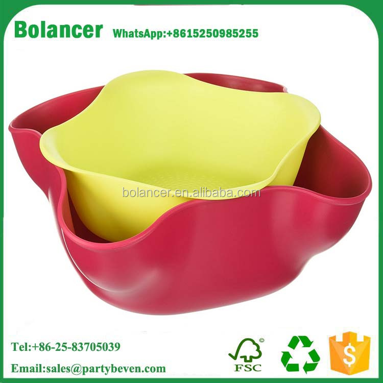 New Design Double Layer Fruit Tray Storage Nuts Plate Melamine Kitchenware