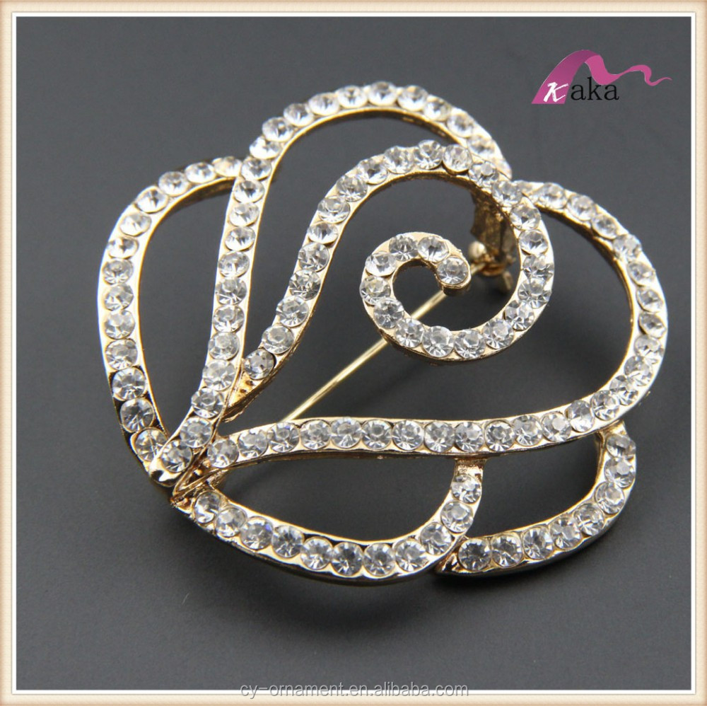 ladies flower shape lots rhinestone big crystal brooches