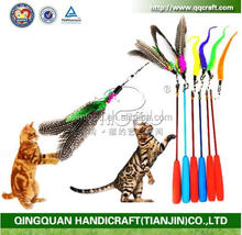 2016 new listing Pet Kitten Feather Bell Teaser Exerciser Interactive Cat Colorful Wand Toy