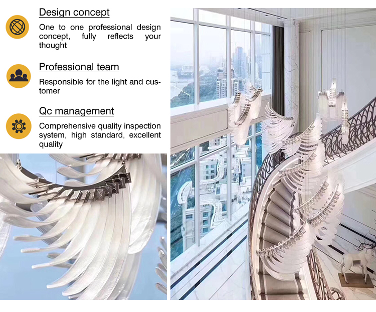 European style Flowing feather shape Glass crystal chandelier pendant light