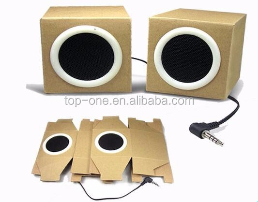 Best promotion gift foldable cardboard mini speaker for MP3, iPhone, laptop etc