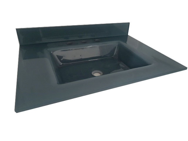 Small Grey Coloured Glass Counter Table Top Wash Basin Sizes in inches HL-2028