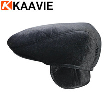 Custom aged ivy cap men thick winter tuque plush fur animal hat with ear flap