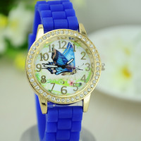 2015 beautiful butterfly round case high quality ladies silicone watch