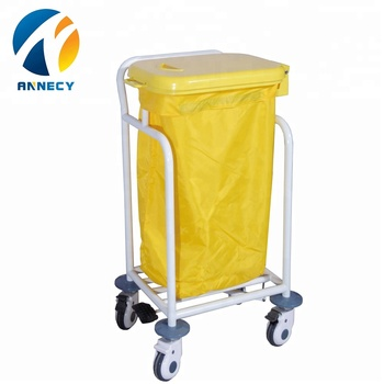 AC-WT010 Steel frame hospital linen carts medical waste trolley bin manufacturer
