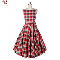 2016 Summer Europe Amercia Plaid Vintage Victorian Celebrity Cotton Umbrella Dress