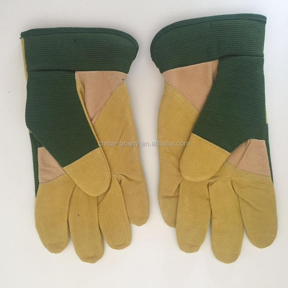 Beight/Green Grain Pigskin Lined Hook& Loop Cuff Driver Glove Leather Palm Glove Pair