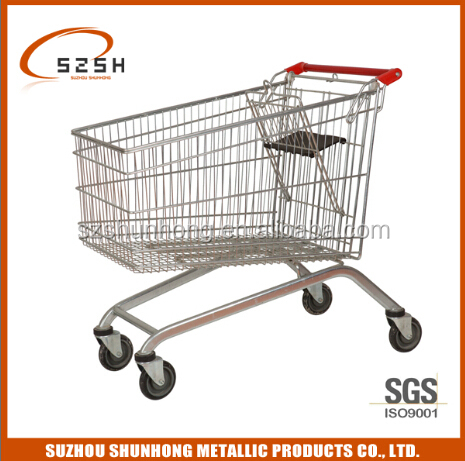supermarket big wheel shopping trolley for grocery