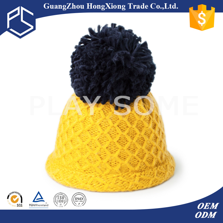 Guangzhou new fashion yellow cheap winter hats with ball on top